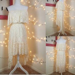 Like New! Elan Cream Strapless Lace High-Lo Dress